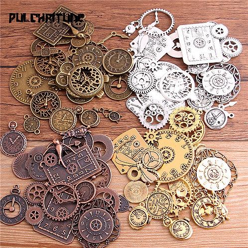 10pcs Vintage Metal Zinc Alloy Mixed Four Clock Pendant Charms