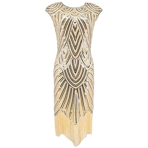 """""""Gigi"""" 1920s Cap Sleeve Sequined Retro Flapper Dress"""