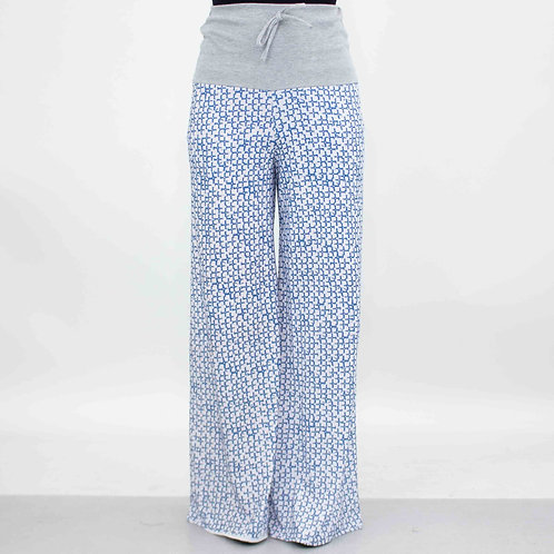 Wide Leg High Waist Blue Maxi Pants
