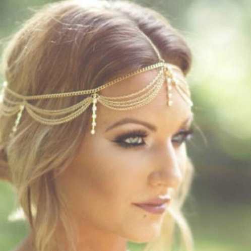 Exotic Draping Beaded Headpiece