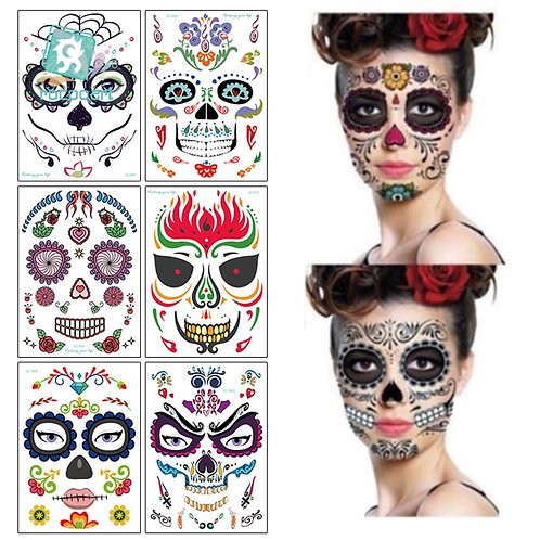 Halloween & Day of the Dead Waterproof Face Tattoo Stickers