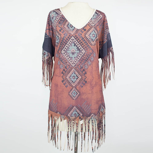 Tribal Print Fringe Finish Top - Burgundy