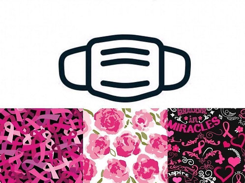 Pink Ribbons & Florals Face Masks 3/Pack