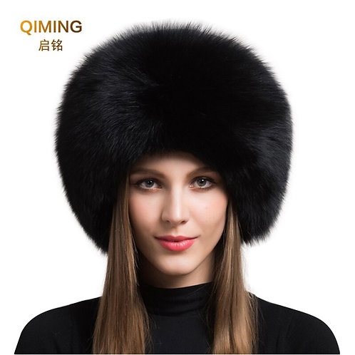 100%  Natural Fox Fur Siberian Hat