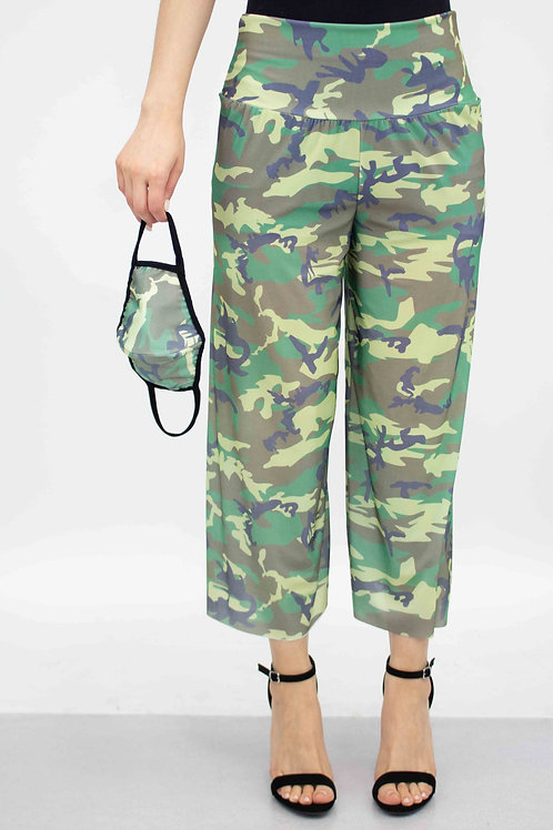 Camouflage Print Cropped Gaucho Pants and Mask