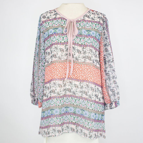 Front Tie 3/4 Sleeve Bohemian Blouse - Blue