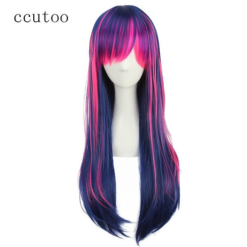 Ccutoo Multicolor Synthetic Cosplay Costume Wig With Bangs