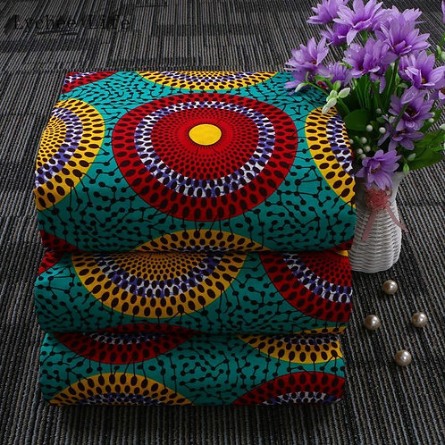 Lychee Life 1Yard Ankara African Real Wax 100% Cotton Fabric