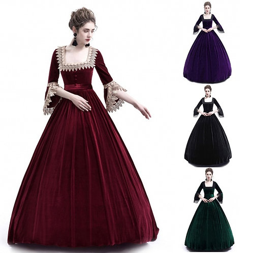 Elizabethan Renaissance Square Collar Dress