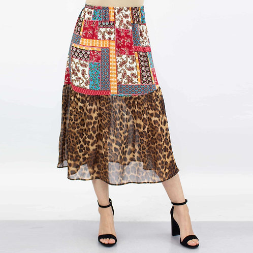 Animal Print Color Block Skirt - Red