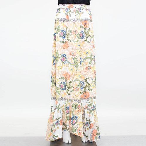 Flared Bottom Floral Maxi Skirt