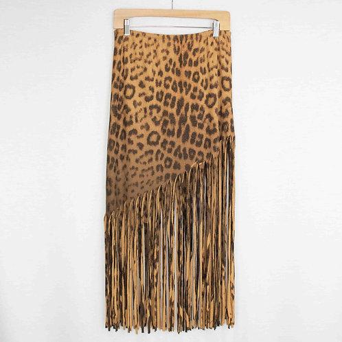 Animal Print Skirt With Fringe
