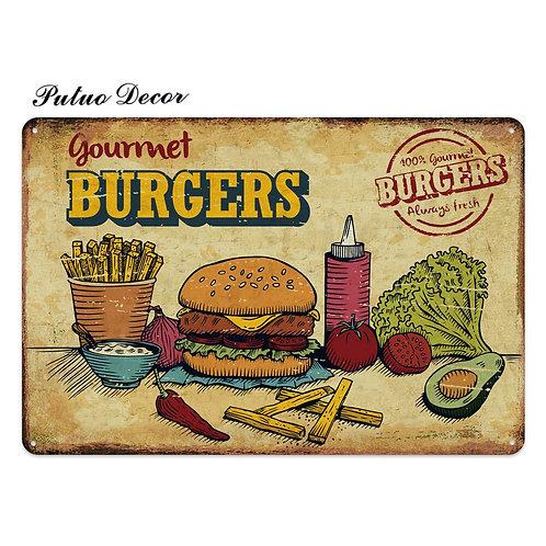 Fast Food Tin Sign Vintage Metal Sign