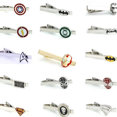 iGame Men Tie Clips Various Designs Option Novel Superheroes
