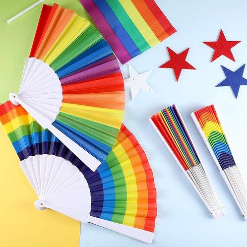 Waving Rainbows Hand Fan