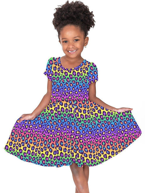 Rainbow Leopard Hugs Collection Dress - SHIPS EARLY SEPT