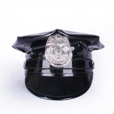 Black Patent Police Hat