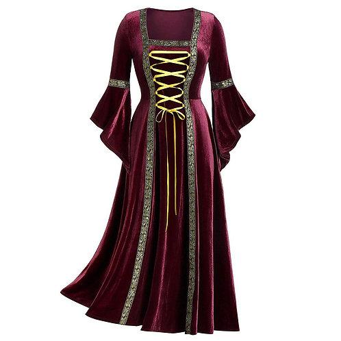 Lace Front Velvet Medieval Dress