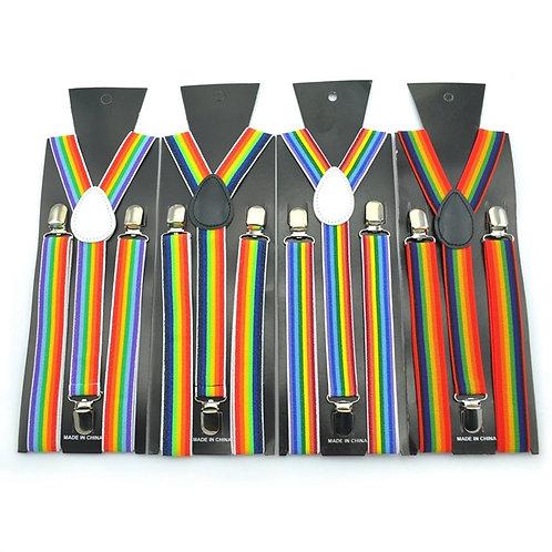 Rainbow Stripe Clip-On Suspenders