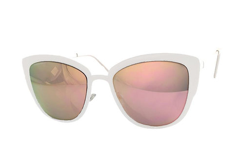 White Metal Mirror Sunglasses