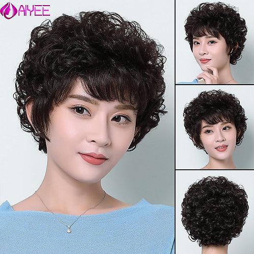 AIYEE 100% Human Hair Short Curly Wig