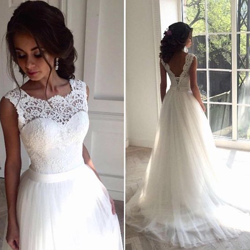 Lace Beach Wedding Dress 2019 Scoop Neck White Bridal Gown Tulle Skirt Chapel