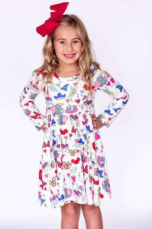 Park Snacks Long Sleeve Comfort Twirl Dress