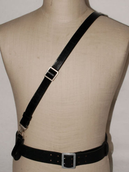WWII Leather Officer Bandolier Cross Strap - German Army