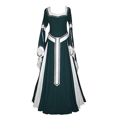 Belted Medieval  Square Collar Dress