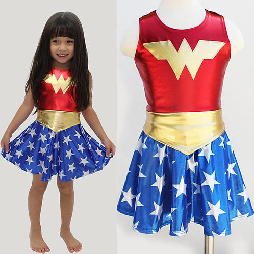 Youth Wonder Woman Shiny Cosplay Costume