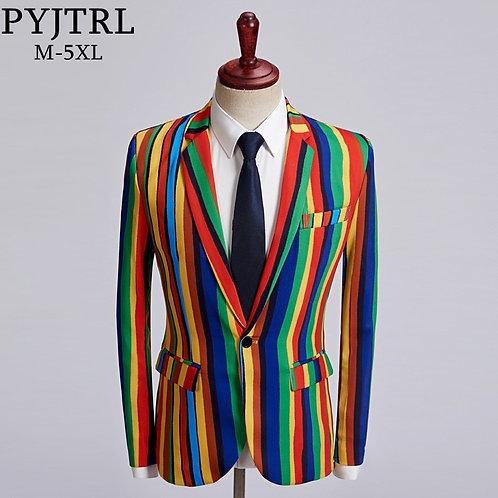 Rainbow Stripe Single Button Blazer