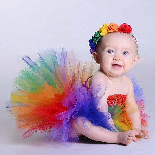 Baby Rainbow Tutu Dress With Flower Headband