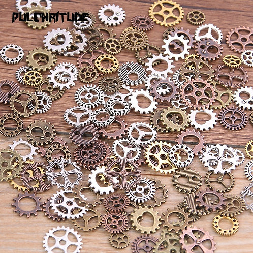 60PCS 4 Color Small Size 8-15mm Mix Alloy Mechanical Steampunk