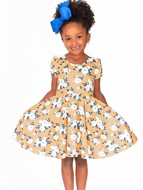 Mustard Floral Twirl Hugs Dress - RTS