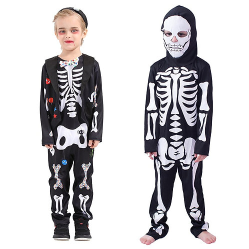 Youth Scary Skeleton Jumpsuit With Mask