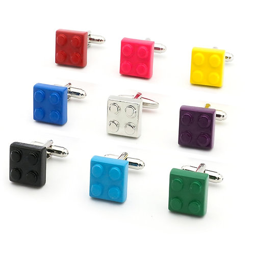 Free Shipping Block Cufflinks Muti-Color Bricks Design B