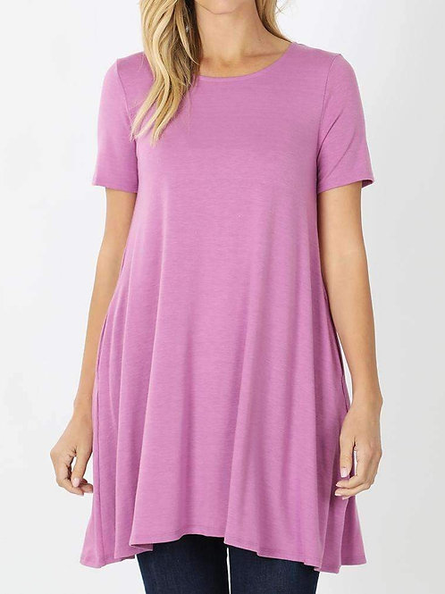 Short Sleeve Tunic With Pockets (14 Colors)