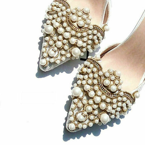 2 Piece Retro Pearl Shoe Clips