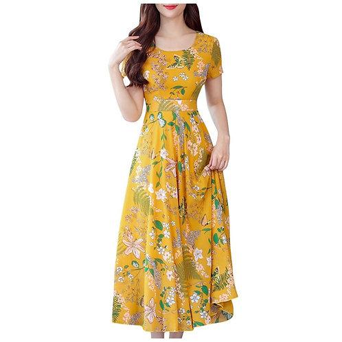 Elegant Dress Women Vintage Short Sleeve