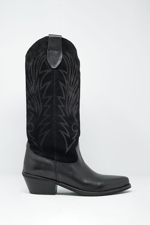 Black Western High Boots With Suede Print Detail