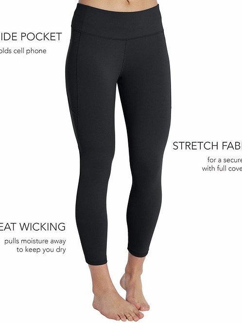 New Style Athletic CAPRI Black Single Thigh Pocket Legging - Capri Length - RTS