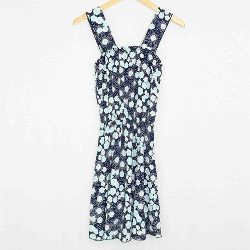 Sleeveless Flower Print Dress Blue