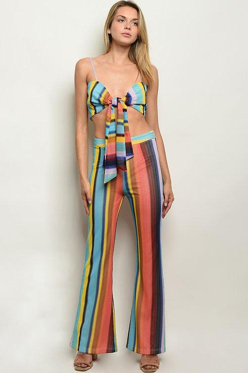 Retro 70s Style Multi Stripes Top & Pants Set