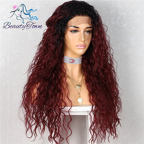"""26"""" Long Kinky Burgundy Lace Front Wig"""