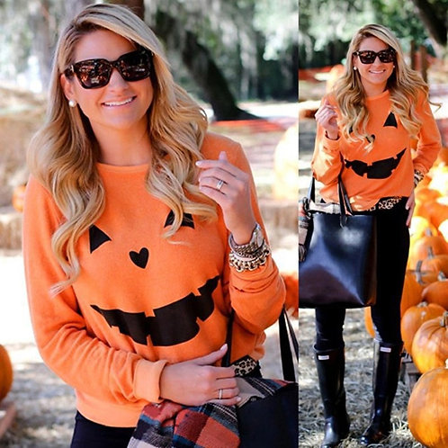 Halloween Pumpkin Print Long Sleeve Sweatshirt