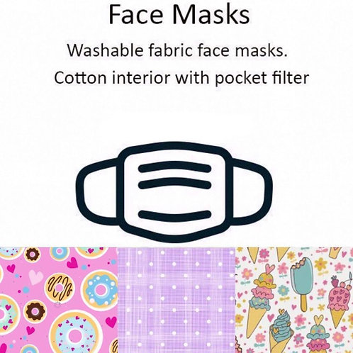 Donuts/Ice Creams Washable Face Masks 3/Pack