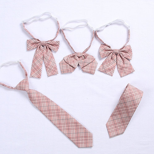 Pink Plaid School Uniform Ties