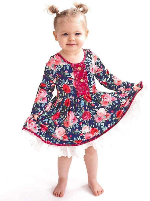 Navy & Pink Vintage Twirl Hugs Dress