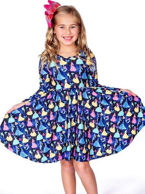 Glitter Princess Long Sleeve Comfort Twirl Dress