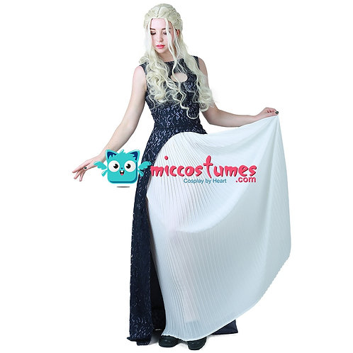 """Game of Thrones"" Daenerys Targaryen Dark Blue and White Cosplay Costume"